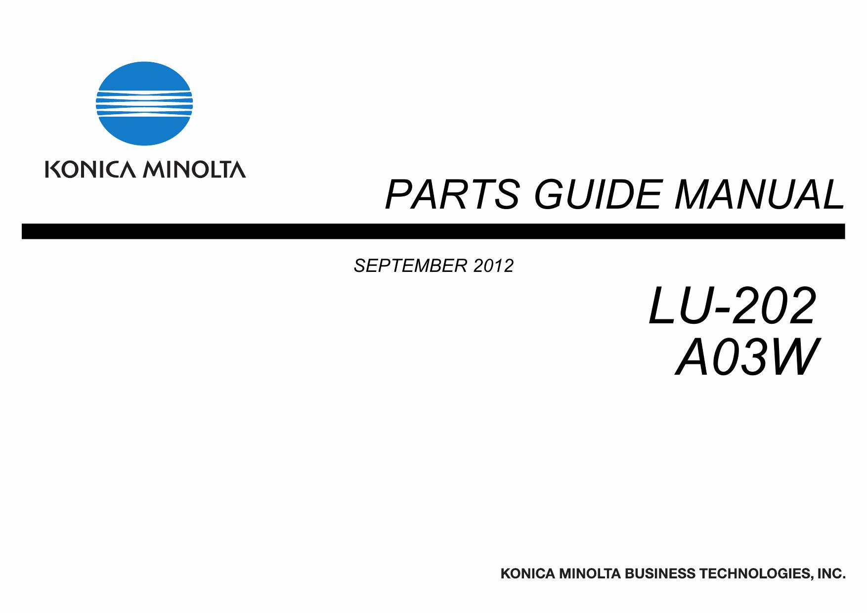 Konica-Minolta Options LU-202 A03W Parts Manual